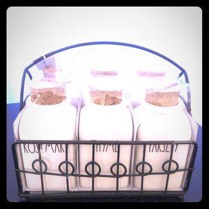 Rae Dunn spice jar and rack